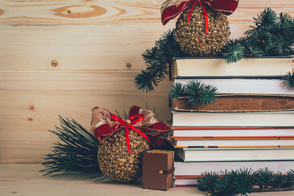 reading list with holiday decor